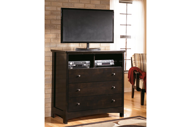 dark brown media chest as TV stand. Harmony Media Chest   Ashley Furniture HomeStore