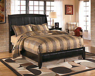 Harmony Queen Platform Style Bed, Dark Brown, rollover