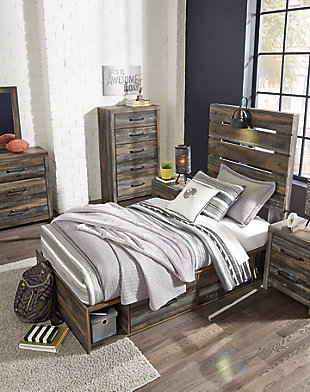 Drystan Twin Panel Bed with 4 Storage Drawers, Multi, large