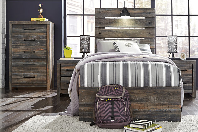 Drystan Twin Panel Bed with 4-Storage, Multi, large
