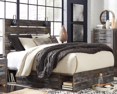 Picture of: Drystan Queen Panel Bed With 4 Storage Drawers Ashley Furniture Homestore