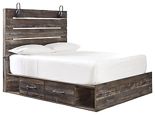 Drystan Queen Panel Bed with 2 Storage Drawers, Multi, large