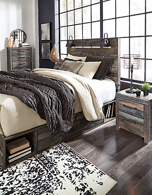 Drystan Queen Panel Bed with 4 Storage Drawers, Multi, large