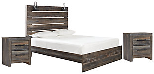Drystan Queen Panel Bed with 2 Nightstands, Multi, large