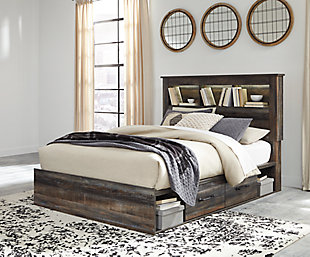 Drystan Queen Bookcase Bed with 4 Storage Drawers, , large
