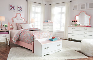 Laddi Twin Upholstered Panel Bed, White/Pink, large