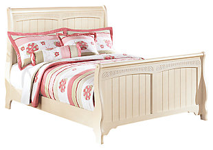 Cottage Retreat Full Sleigh Bed, Cream Cottage, large