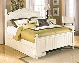 Cottage Retreat Queen Poster Bed with Storage, , rollover