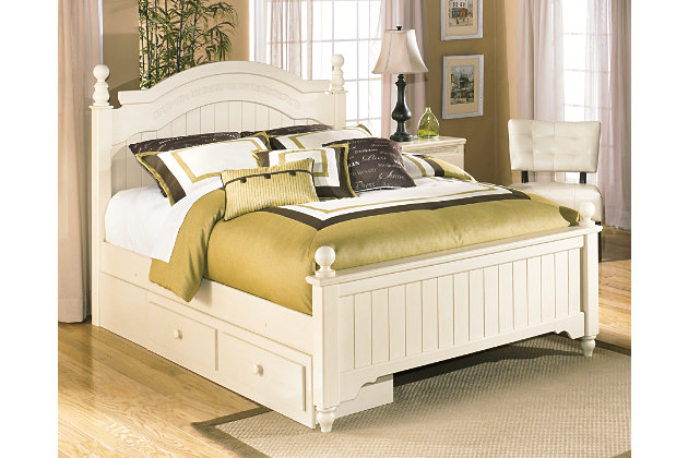 Cottage Retreat Queen Poster Bed with Storage, , large