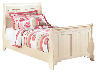 Cottage Retreat Kids Twin Sleigh Bed, Cream Cottage, large
