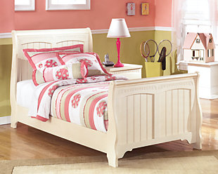 Cottage Retreat Kids Twin Sleigh Bed, Cream Cottage, rollover