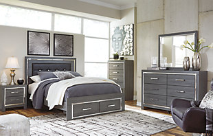 Lodanna Queen Panel Bed with 2 Storage Drawers, Gray, large