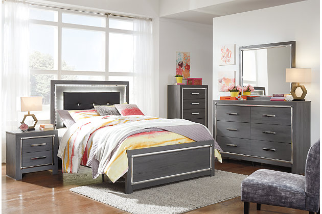 Lodanna Full Panel Bed with Mirrored Dresser, Chest and 2 Nightstands, , large