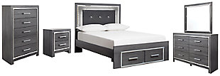Lodanna Full Panel Bed with 2 Storage Drawers with Mirrored Dresser, Chest and Nightstand, , large