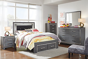 Lodanna Full Panel Bed with Storage, Gray, large
