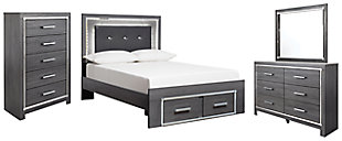 Lodanna Full Panel Bed with 2 Storage Drawers with Mirrored Dresser and Chest, , large