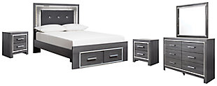 Lodanna Full Panel Bed with 2 Storage Drawers with Mirrored Dresser and 2 Nightstands, , large