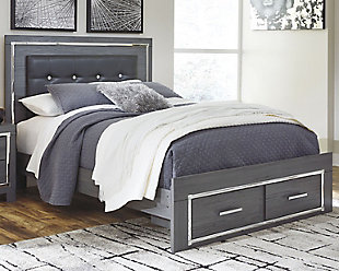 Lodanna Queen Panel Bed with 2 Storage Drawers, Gray, rollover