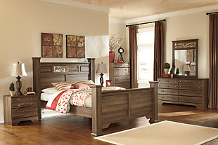 Allymore Queen Poster Bed, Brown, large