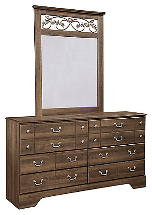 Allymore Dresser and Mirror, Brown, large