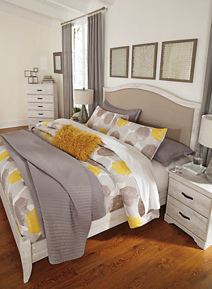 Briartown King Upholstered Bed, Whitewash, large