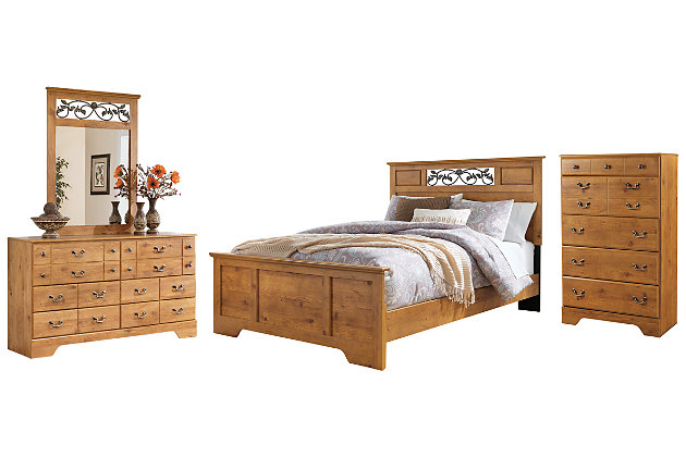 Bittersweet Queen Panel Bed with Mirrored Dresser and Chest, , large