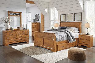 Bittersweet Queen Sleigh Bed with 2 Storage Drawers with Mirrored Dresser and Chest, , rollover
