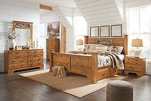 Bittersweet King Poster Bed with 2 Storage Drawers with Mirrored Dresser and Chest, Light Brown, rollover