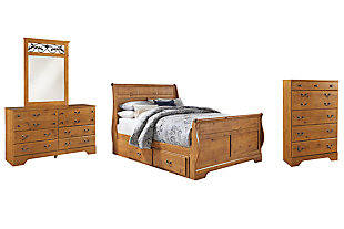 Bittersweet Queen Sleigh Bed with 2 Storage Drawers with Mirrored Dresser and Chest, , large
