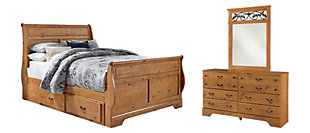 Bittersweet Queen Sleigh Bed with 2 Storage Drawers with Mirrored Dresser, , large