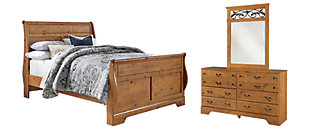 Bittersweet Queen Sleigh Bed with Mirrored Dresser, Light Brown, large