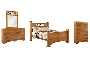 Bittersweet Queen Poster Bed with Mirrored Dresser and Chest, Light Brown, large