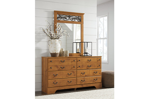 dresser with hutch mirror triple bittersweet dresser and mirror large mirror ashley furniture homestore