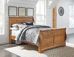 Bittersweet Queen Sleigh Bed, Light Brown, rollover