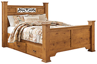 Bittersweet Queen Poster Bed with 2 Storage Drawers, Light Brown, large
