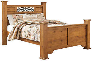 Bittersweet Queen Poster Bed, Light Brown, large