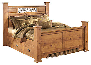 Bittersweet Queen Poster Bed with Storage, Light Brown, large