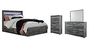 Baystorm Queen Panel Bed with 6 Storage Drawers with Mirrored Dresser and Chest, , rollover