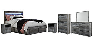 Baystorm Queen Panel Bed with 6 Storage Drawers with Mirrored Dresser, Chest and 2 Nightstands, , large