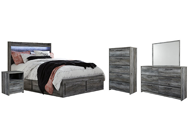 Baystorm Queen Panel Bed with 6 Storage Drawers with Mirrored Dresser, Chest and Nightstand, , large