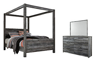 Baystorm Queen Poster Bed with Mirrored Dresser, , rollover
