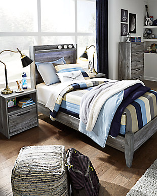 Baystorm Twin Panel Bed, Gray, rollover