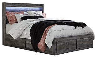 Baystorm Queen Panel Bed with 4 Storage Drawers, Gray, large
