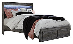 Baystorm Queen Platform Bed with 2 Storage Drawers, Gray, large