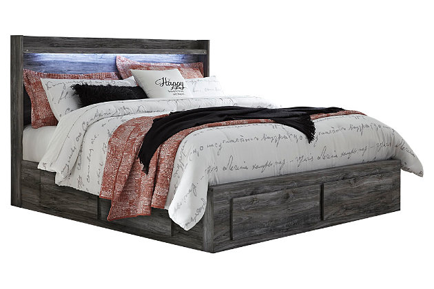 Baystorm King Panel Bed with 4 Storage Drawers, Gray, large