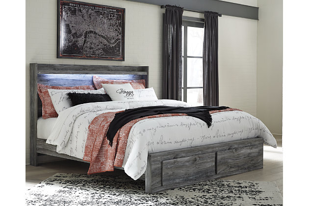 Baystorm King Panel Bed with 2 Storage Drawers, Gray, large