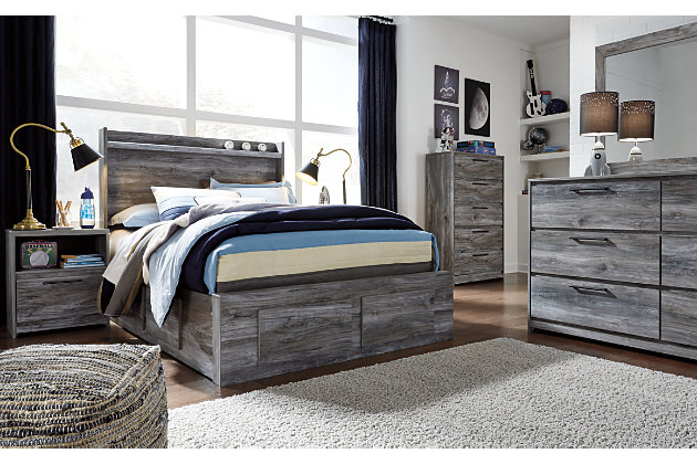 Baystorm Full Panel Bed with 6 Storage Drawers, Gray, large