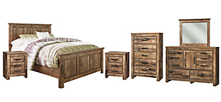 Blaneville Queen Panel Bed with Mirrored Dresser, Chest and 2 Nightstands, , large