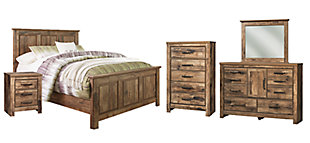 Blaneville Queen Panel Bed with Mirrored Dresser, Chest and Nightstand, , large