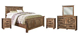 Blaneville Queen Panel Bed with Mirrored Dresser and 2 Nightstands, , large